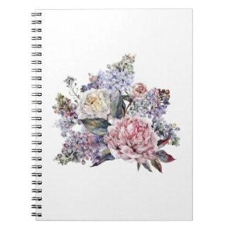 Caderno do buquê da aguarela