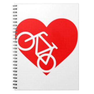 Caderno do coração da bicicleta