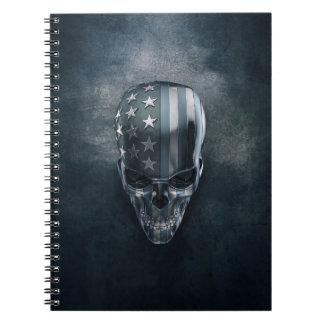 Caderno do crânio da bandeira americana
