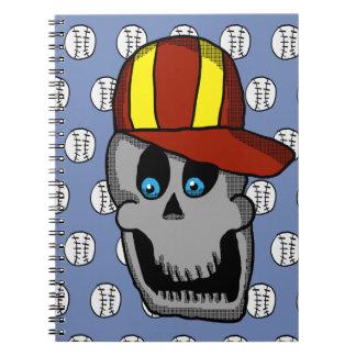 Caderno do crânio do chapéu de basebol