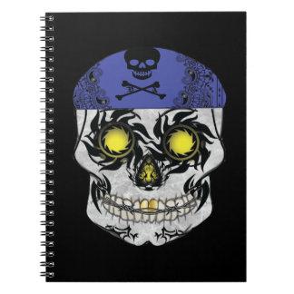Caderno do crânio dos doces do motociclista
