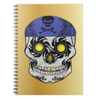 Caderno do crânio dos doces do motociclista do