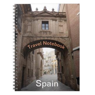 Caderno do destino do viagem da espanha