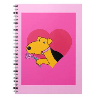 Caderno do dia dos namorados do cão de Airedale