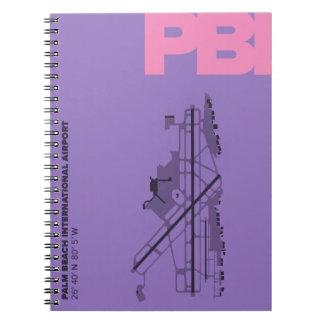 Caderno do diagrama do aeroporto do Palm Beach