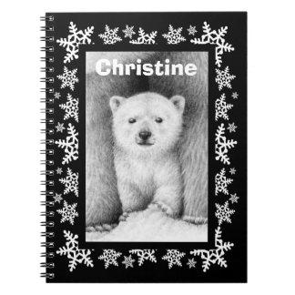 Caderno do Natal do floco de neve de Cub de urso p
