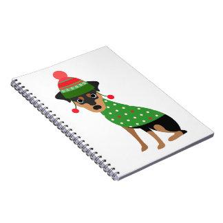 Caderno do Natal do Pinscher diminuto