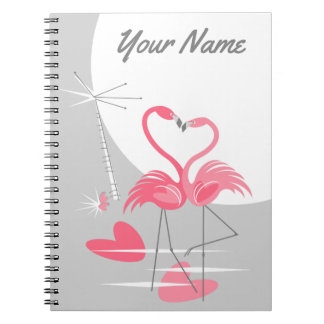 Caderno do nome da lua do amor do flamingo grande