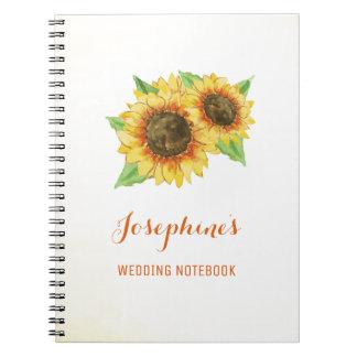 Caderno do planeamento do casamento do girassol