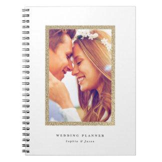 Caderno do planeamento do casamento do quadro do