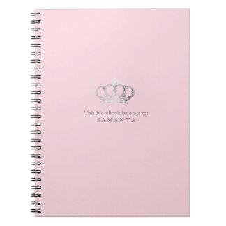 Caderno do rosa do ı da coroa da princesa