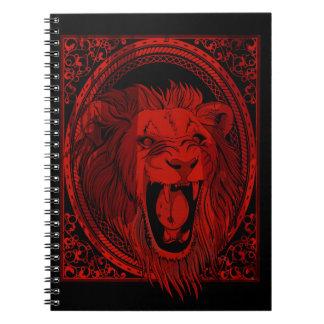 Caderno do rugido do leão vermelho