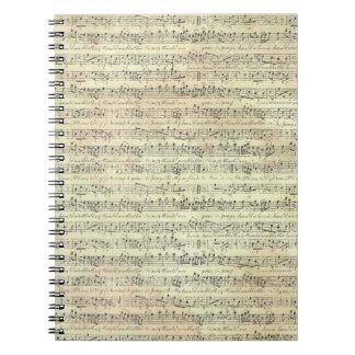 caderno do tema da música do teste padrão da nota