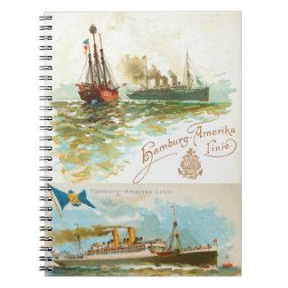Caderno dos navios a vapor do vintage