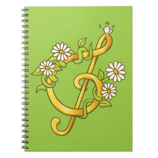 Caderno dourado da nota musical
