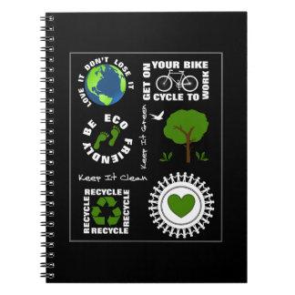 Caderno Eco amigável vai terra verde do planeta do amor