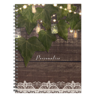 Caderno Elegante rústico do frasco da hera & de pedreiro