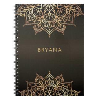 Caderno Encanto moderno do encanto chique de bronze de