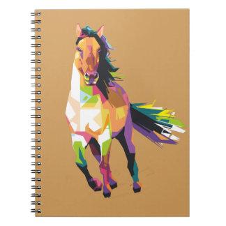 Caderno Equestrian Running colorido do garanhão do cavalo