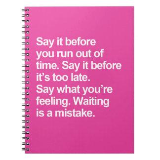 Caderno Esperar é umas citações do erro