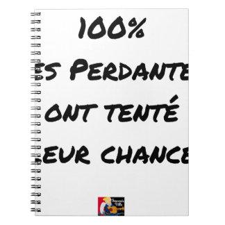 CADERNO ESPIRAL 100% DO PERDEDORES TENTARAM A SUA POSSIBILIDADE