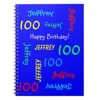 Caderno Espiral 100th Livro de hóspedes azul da festa de
