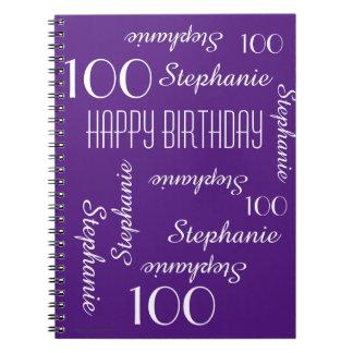 Caderno Espiral 100th Livro de hóspedes da festa de aniversário,
