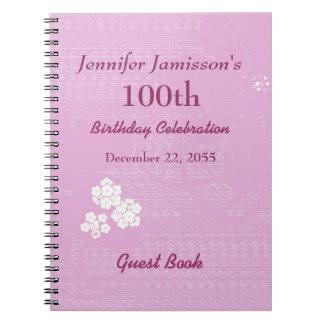 Caderno Espiral 100th Rosa do livro de hóspedes da festa de