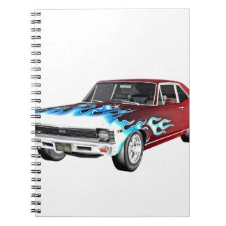 Caderno Espiral 1968 carros brancos e azuis vermelhos do músculo