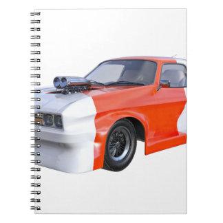 Caderno Espiral 2016 carro alaranjado e branco do músculo