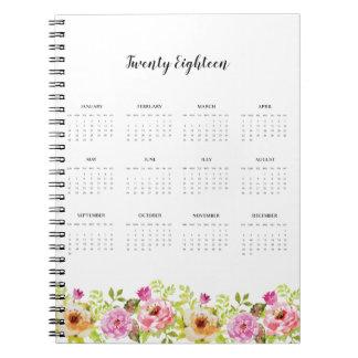 Caderno Espiral 2018 flores do primavera do calendário