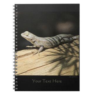 Caderno espiral 2 de lagarto de cerca ocidental