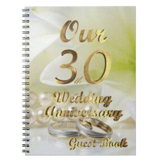 Caderno Espiral 30o Branco do ouro do livro de hóspedes do