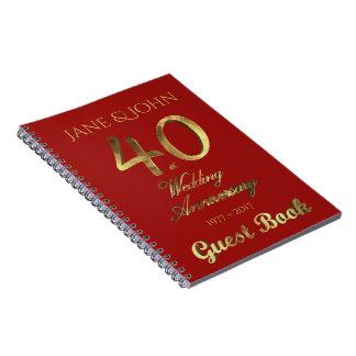 Caderno Espiral 40th Rubi do ouro do livro de hóspedes do