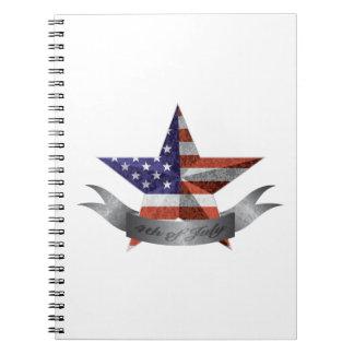 Caderno Espiral 4o da bandeira e da estrela de julho com textura