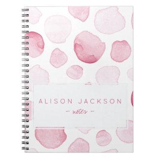 Caderno Espiral A aguarela cora teste padrão cor-de-rosa das gotas