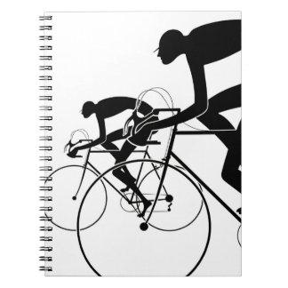 Caderno Espiral A bicicleta retro mostra em silhueta 2 1986