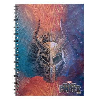 Caderno Espiral A máscara tribal preta da pantera | cobriu a arte