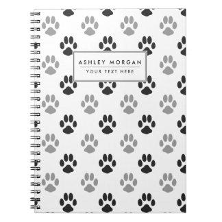 Caderno Espiral A pata preto e branco bonito imprime o teste