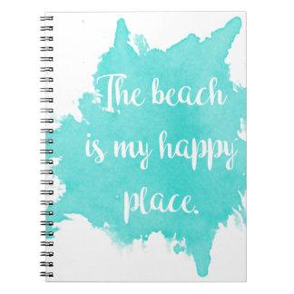 Caderno Espiral A praia é meu lugar feliz