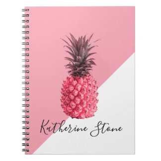 Caderno Espiral Abacaxi cor-de-rosa e branco tropical feminino