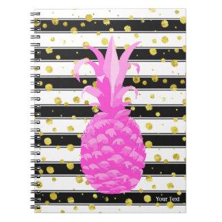 Caderno Espiral Abacaxi no rosa quente com listras & pontos do