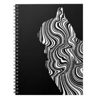 Caderno Espiral Abstract Black and White Cat Swirl Monochroom