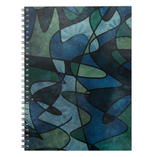 Caderno Espiral Abstrato do vitral de Digitas da cerceta do verde