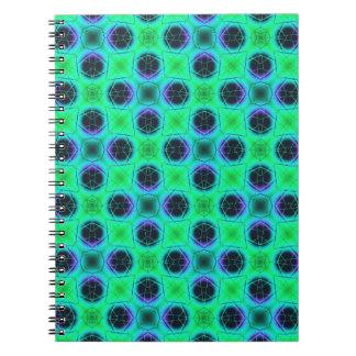 Caderno Espiral Abstrato geométrico azul roxo verde