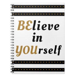 Caderno Espiral Acredite em o senhor mesmo citações inspiradas