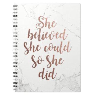 """Caderno Espiral """"Acreditou que poderia assim que fez"""" ouro"""