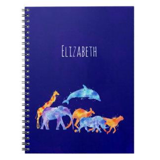 Caderno Espiral Aguarela colorida do rebanho do animal selvagem