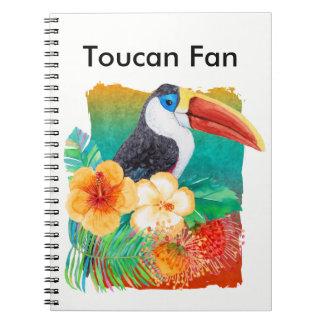 Caderno Espiral Aguarela tropical do fã de Toucan