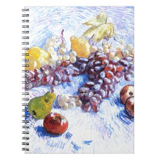 Caderno Espiral Ainda vida com maçãs, peras, uvas - Van Gogh